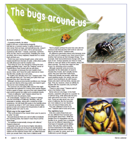 Page one of Sarah Lunsford's article, The Bugs Around Us, in Sierra Lodestar, June 3-9, 2015
