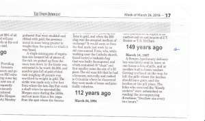 "article from Union Democrat, 24 March 2016, in section ""Good Old Days"" by Bob Holton."